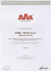 AAA certifikati bonitetne izvrsnosti za 2017. Bisnode
